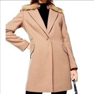 Topshop Monica Faux Fur Removable Collar Coat 8